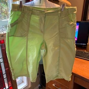 Chico's lime green ripstop shorts